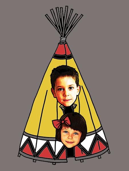 KID FACE Indiánsátras férfi póló minta